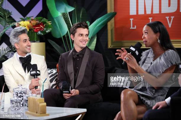 Tan France Antoni Porowski and Aisha Tyler speak onstage at IMDb LIVE Presented By MM'S At The Elton John AIDS Foundation Academy Awards Viewing...