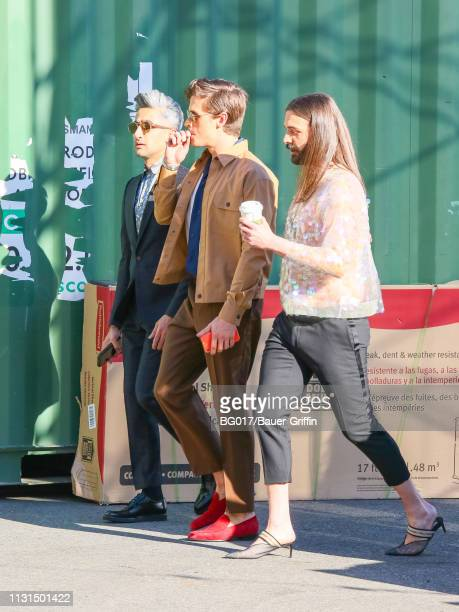Tan France Antoni Porowski and Jonathan Van Ness are seen arriving at 'Jimmy Kimmel Live' on March 18 2019 in Los Angeles California