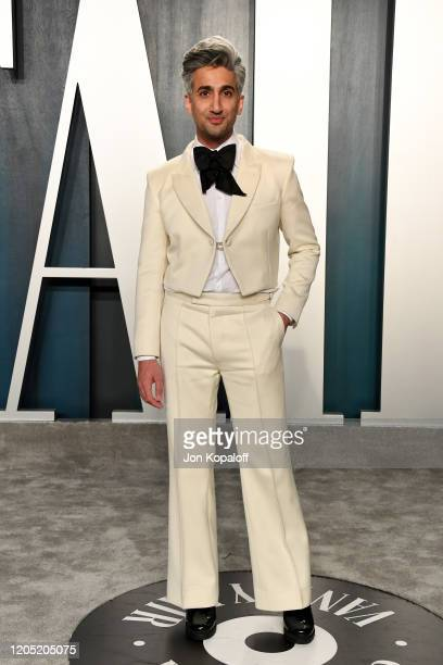 Tan France attends the 2020 Vanity Fair Oscar Party hosted by Radhika Jones at Wallis Annenberg Center for the Performing Arts on February 09, 2020...