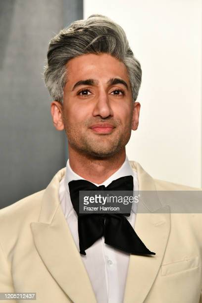 Tan France attends the 2020 Vanity Fair Oscar Party hosted by Radhika Jones at Wallis Annenberg Center for the Performing Arts on February 09 2020 in...