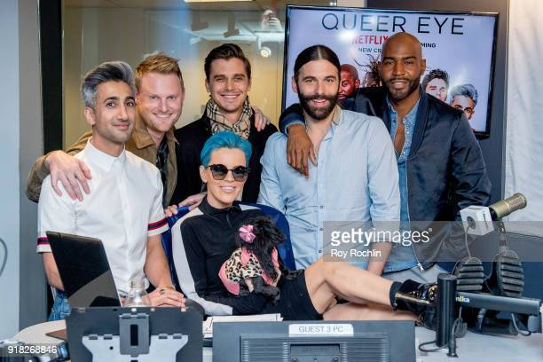 Tan France Bobby Berk Antoni Porowski Jonathan Van Ness and Karamo Brown with Jenny McCarthy from 'Queer Eye for the Straight Guy' reboot during the...