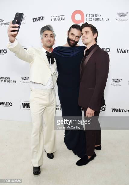 Tan France Jonathan Van Ness and Antoni Porowski attend the 28th Annual Elton John AIDS Foundation Academy Awards Viewing Party sponsored by IMDb...