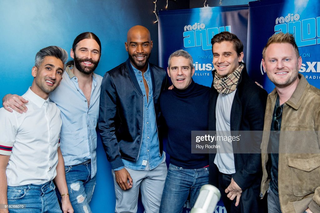 Tan France, Jonathan Van Ness, Karamo Brown, Antoni Porowski and Bobby Berk from Queer Eye for the Straight Guy with Andy Cohen visit the Talk Andy show at SiriusXM Studios on February 14, 2018 in New York City.