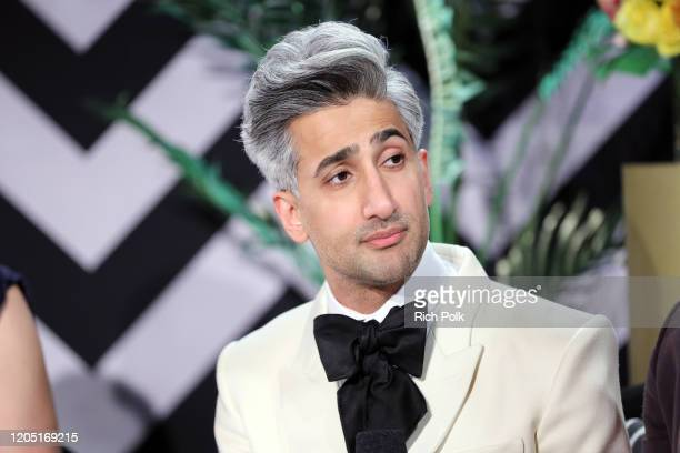 Tan France speaks onstage at IMDb LIVE Presented By MM'S At The Elton John AIDS Foundation Academy Awards Viewing Party on February 09 2020 in Los...
