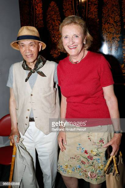 Tan Giudicelli and Baroness ErnestAntoine Seilliere Antoinette Barbe attend the Tan Giudicelli Exhibition of drawings and accessories preview at...