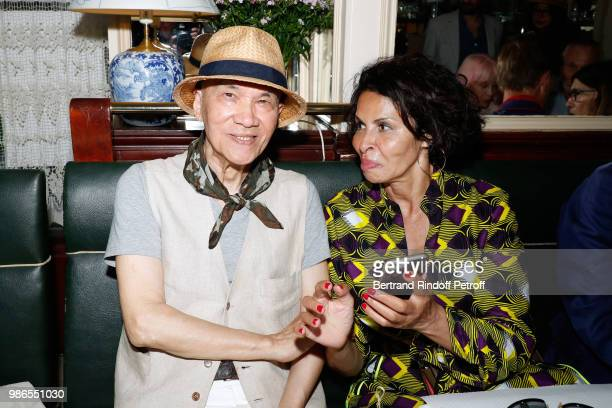 Tan Giudicelli and Djemila Khelfa attend the Tan Giudicelli Exhibition of drawings and accessories preview at Galerie Pierre Passebon on June 28 2018...
