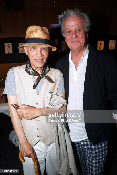 Tan Giudicelli and Jacques Grange attend the Tan Giudicelli Exhibition of drawings and accessories preview at Galerie Pierre Passebon on June 28 2018...