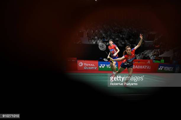 Tan Kian Meng and Lai Pei Jing of Malaysia compete against Rinov Rivaldy and Angelica Wiratama of Indonesia during the Mixed Doubles Round 16 match...
