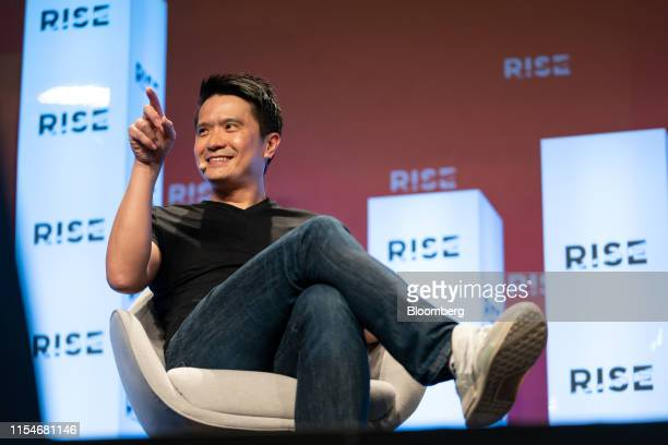 Tan Min-Liang, chief executive officer and co-founder of Razer Inc., gestures as he speaks on stage at the Rise conference in Hong Kong, China, on...