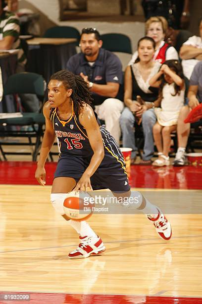 Tan White of the Indiana Fever moves the ball against the Houston Comets during the game at Reliant Arena on June 28, 2008 in Houston, Texas. The...