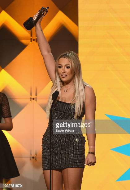 Tana Mongeau accepts the Creator of the Year award on behalf of winner Shane Dawson onstage during The 8th Annual Streamy Awards at The Beverly...