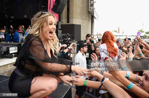 Tana Mongeau and Bella Thorne perform onstage during Day 2 of Billboard Hot 100 Festival 2018 at Northwell Health at Jones Beach Theater on August 19...