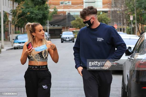 Tana Mongeau and Harry Jowsey head out for a coffee together on January 20, 2021 in Los Angeles, California. (Photo by Rachpoot/MEGA/GC Images