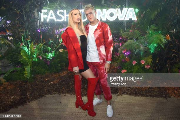 Tana Mongeau and Jake Paul are seen as Fashion Nova Presents: Party With Cardi at Hollywood Palladium on May 8, 2019 in Los Angeles, California.