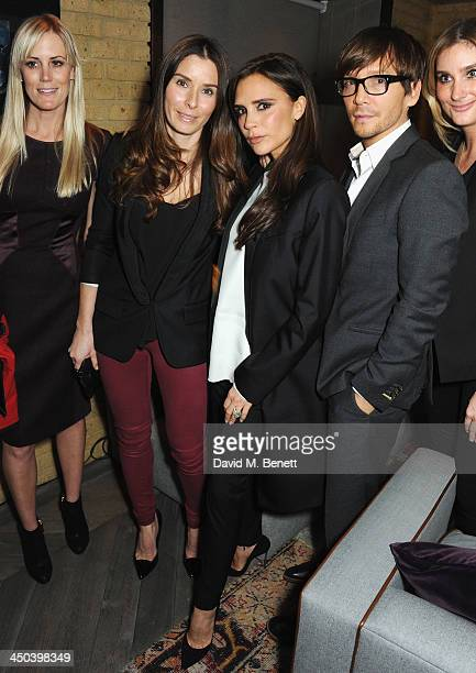 Tana Ramsay Victoria Beckham and Ken Paves attend the launch of Kelly Hoppen MBE's new book Design Masterclass at Belgraves Hotel on November 18 2013...