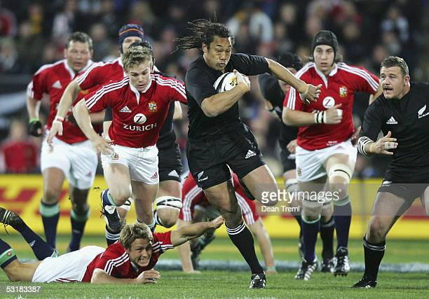 Tana Umaga of the All Blacks in action during the second test between the British and Irish Lions and the New Zealand All Blacks at Westpac Stadium...