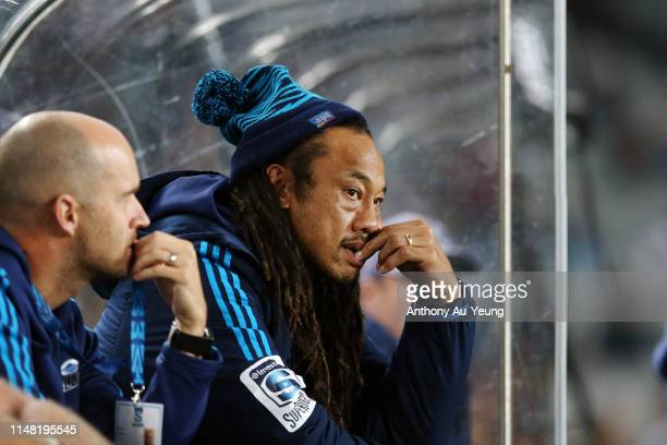 Tana Umaga of the Blues looks on during the round 13 Super Rugby match between the Blues and the Hurricanes at Eden Park on May 10 2019 in Auckland...