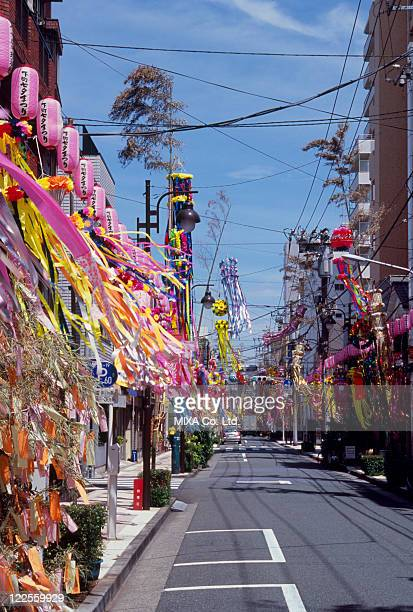 tanabata decoration, taito, tokyo, japan - tanabata festival stock pictures, royalty-free photos & images