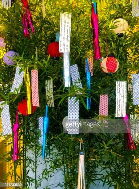 tanabata decorations, star festival - festival tanabata foto e immagini stock