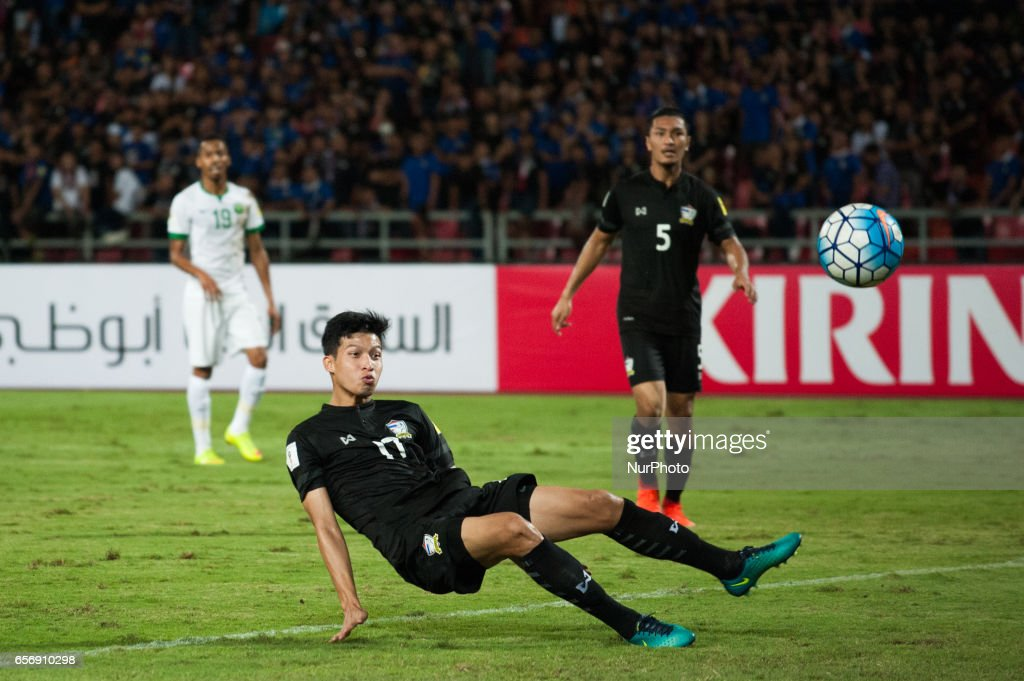 Tanaboon Kesarat from Thailand scoring an own goal during the FIFA World Cup 2018 qualification soccer match between Thailand and Saudi Arabia at Rajamangala National Stadium in Bangkok, Thailand, on March 23, 2017.