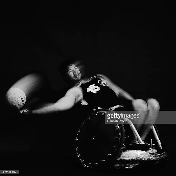 Tanafi Lefono of the Wheelblacks poses for a photograph during a New Zealand Wheelchair rugby portrait session on May 3 2015 in Auckland New Zealand