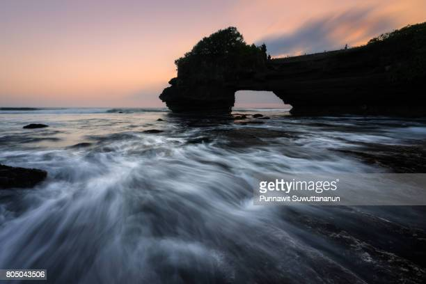 Tanah Lot, Hindu temple landmark of Bali island at sunset, Bali island, Indonesia