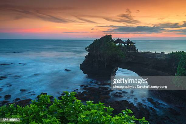 Tanah Lot Temple (Pura Tanah Lot) in sunset time