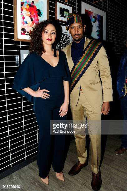 Tanairi Vazquez and Bryan Tyrell Clark attend The Cinema Society with Ravage Wines Synchrony host the after party for Marvel Studios' 'Black Panther'...