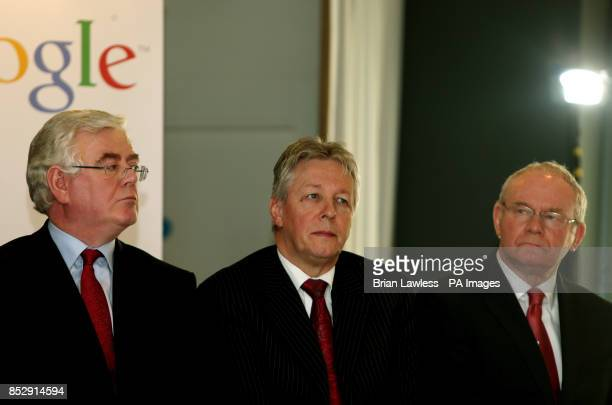 Tanaiste and Minister for Foreign Affairs and Trade, Eamonn Gilmore, , Northern Ireland First Minister Peter Robinson and deputy First Minister...