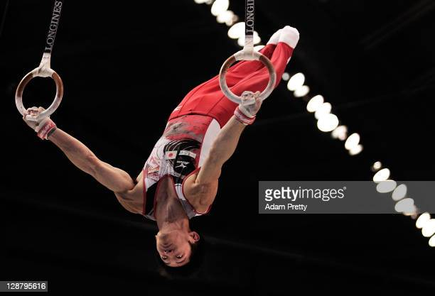 Tanaka Kazuhito of Japan competes on the Rings aparatus in the Men's qualification during day three of the Artistic Gymnastics World Championships...