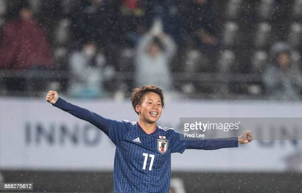 Tanaka Mina of Japan celebrates after scoring a goal during the EAFF E1 Women's Football Championship between Japan and South Korea at Fukuda Denshi...