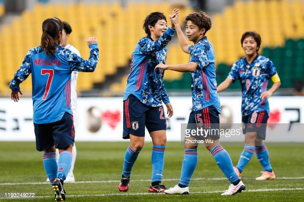 Tanaka Mina of Japan celebrates her goal during the EAFF E-1 Football Championship match between Japan and Chinese Taipei at Busan Asiad Main Stadium...