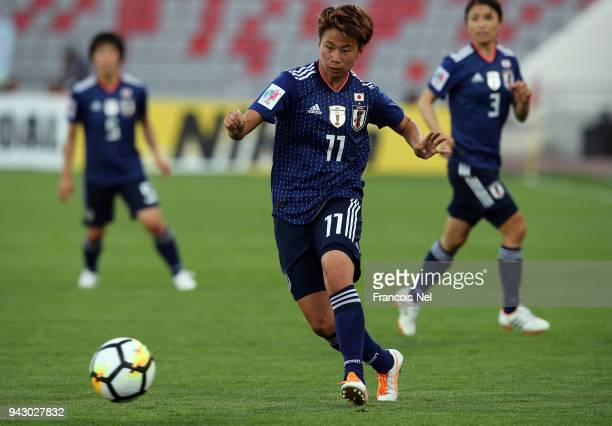 Tanaka Mina of Japan in action during the AFC Women's Asian Cup Group B match between Japan and Vietnam at the King Abdullah II Stadium on April 7,...