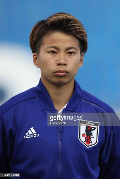 Tanaka Mina of Japan looks on prior to the AFC Women's Asian Cup Group B match between South Korea and Japan at the Amman International Stadium on...
