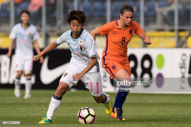 ,Tanaka Mina of Japan Sherida Spitse of the Netherlandsduring the friendly match between the women of The Netherlands and Japan at the Rat Verlegh...