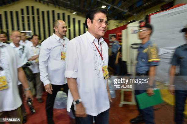 Tanauan mayor Antonio Halili leaves the stadium after speaking to people who turned themselves in during the mass surrender of some 1000 alleged drug...