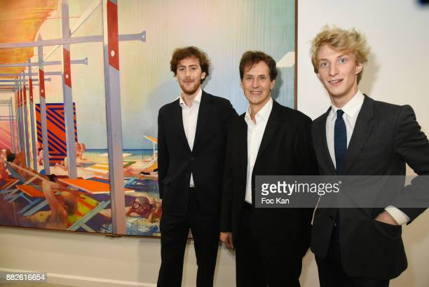 Tancrede Hertzog co manager from Galerie TL Pietro Cremonini and Leopold Legros co manager from Galerie TL attend the Tribute to Leonardo Cremonini...