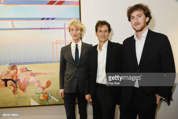 Tancrede Hertzog from Galerie TL Pietro Cremonini and Leopold Legros from Galerie TL attend the Tribute to Leonardo Cremonini Exibition Preview at...
