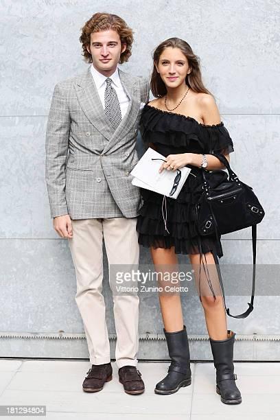 Tancredi Montezemolo and Clotilde Montezemolo attend the Emporio Armani show as a part of Milan Fashion Week Womenswear Spring/Summer 2014 on...