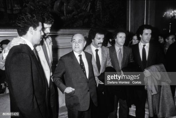 Tancredo de Almeida Neves president of Brazil during the visit official in Rome met the Brazilian players who play in the Italian Serie A champion...