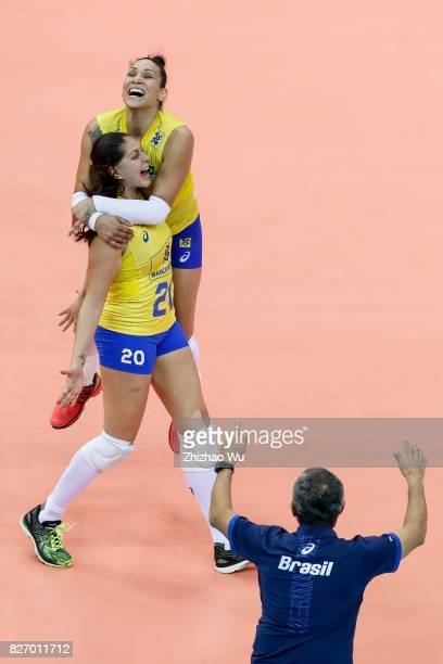 Tandara Caixeta and Ana Beatriz Correa of Brazil celebrate during 2017 Nanjing FIVB World Grand Prix Finals between Italy and Brazil on August 6 2017...