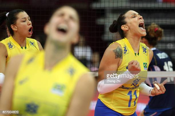 Tandara Caixeta of Brazil and team mates celebrates a point during the final match between Brazil and Italy during 2017 Nanjing FIVB World Grand Prix...