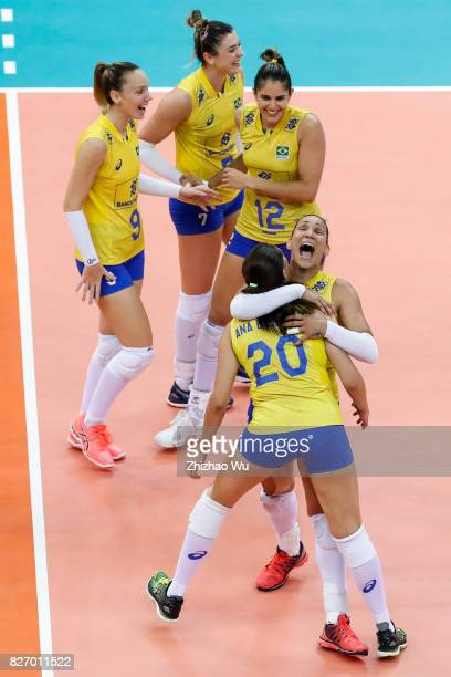 Tandara Caixeta of Brazil celebrate during 2017 Nanjing FIVB World Grand Prix Finals between Italy and Brazil on August 6 2017 in Nanjing China