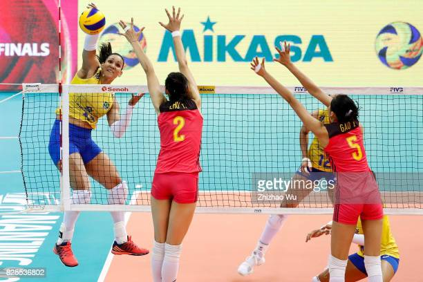 Tandara Caixeta of Brazil spikes during 2017 Nanjing FIVB World Grand Prix Finals between China and Brazil on August 2 2017 at Nanjing Olympic Sports...
