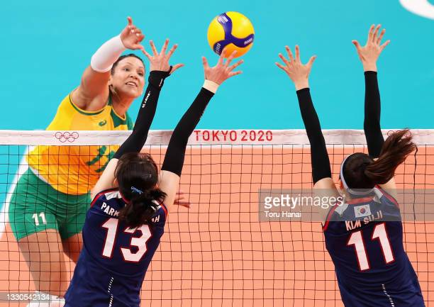 Tandara Caixeta of Team Brazil competes against Team South Korea during the Women's Preliminary - Pool A on day two of the Tokyo 2020 Olympic Games...