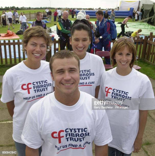 Tandem parachute jumpers presenter Kate Silverton Big Brother winner Craig Phillips actress Sinta Soekadarova and presenter Andrea McLean raise money...