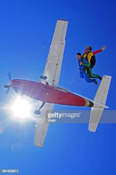 Tandem skydive jump fom the plane