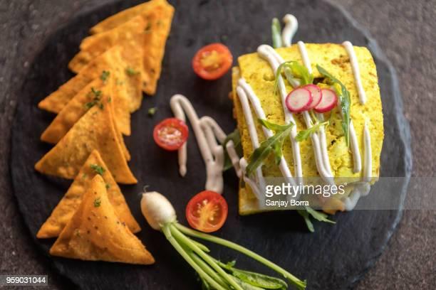 Tandoori Paneer Salad with Corn Nachos Salsa