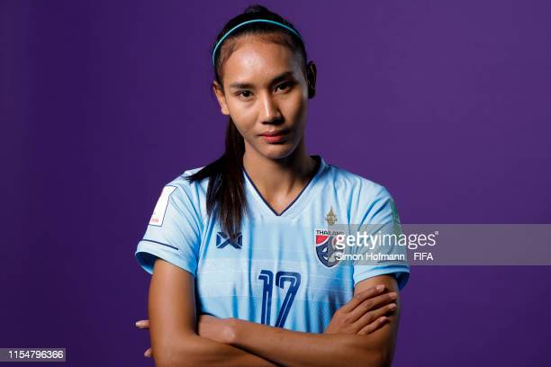 Taneekarn Dangda of Thailand poses for a portrait during the official FIFA Women's World Cup 2019 portrait session at Grand Hotel Continental on June...