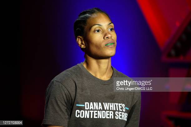 Taneisha Tennant walks out prior to her fight against Danyelle Wolf during week seven of Dana White's Contender Series season four at UFC APEX on...